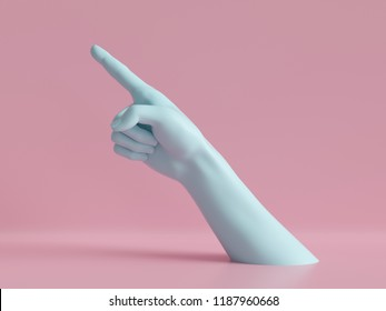 3d render, female hand isolated, finger up, pointing gesture, direction symbol, shop display, minimal fashion background, mannequin body part, show, presentation, pink blue pastel colors