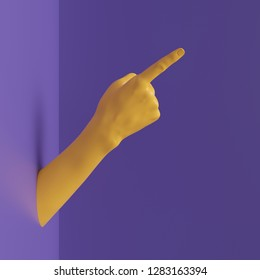 3d render, female hand isolated, finger up, pointing gesture, direction symbol, shop display, minimal fashion background, mannequin body part, show, presentation, violet yellow bright colors