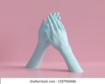 3d render, female hands isolated, applause, minimal fashion background, mannequin body parts, partnership concept, pink blue pastel colors