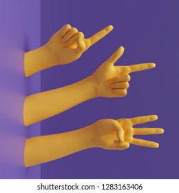3d render, female hands isolated on violet, minimal fashion background, yellow mannequin body parts, competition concept, shop display, show, presentation