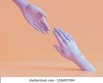 3d render, female hands isolated, minimal fashion background, mannequin body parts, helping hands, partnership concept, peachy violet pastel colors