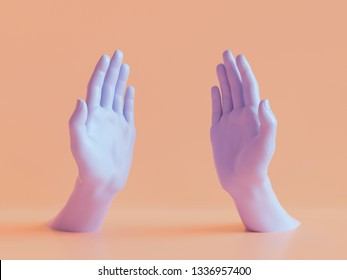 3d render, female hands isolated, open palms, jewelry shop display, minimal fashion background, mannequin body parts, helping hands, show, presentation, peachy violet pastel colors