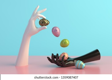 3d render, female hands, minimal fashion background, mannequin body parts with easter eggs