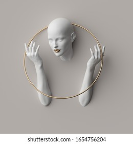 3d render, female mannequin body parts isolated on white background. Bold head, beautiful face, hands, golden ring. Blank product display for jewelry shop showcase. Modern minimal fashion concept