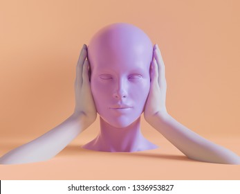 3d render, female mannequin head, ears closed by hands, silence concept, isolated object, minimal fashion background, shop display, pink peachy violet pastel colors