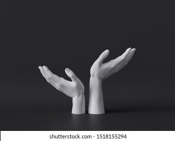 3d render, female mannequin white hands isolated on black background, body parts, fashion concept, religious prayer, sacred ritual, holding gesture, clean minimal design, blank space
