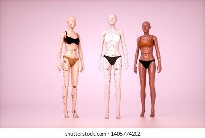 3d render of female mannequins.