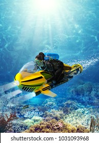 3d render of a female scuba diver on a underwater scooter riding through a beautiful coral reef