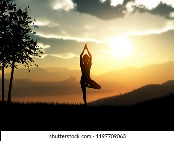 3D render of a female in yoga pose against a sunset landscape
