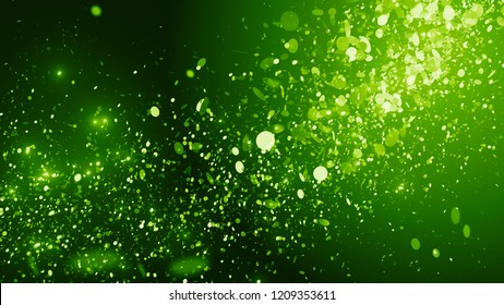3d render festive background. Randomly flowing bright particles. Bright celebration background.