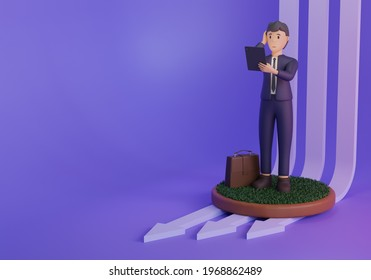 3d render, Financial crisis infographics illustration with statistic and character