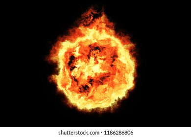 3d render, fireball with black background