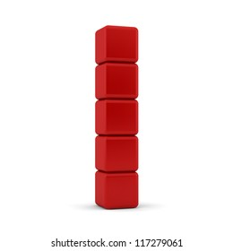 3d render of five blank red equilateral cubes with bevelled , shaped and rounded edges and corners stacked in an angled tower formation one on top of each other on a white background
