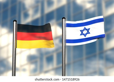 3d render of an flag of Germany and Israel, in front of an blurry background, with a steel flagpole