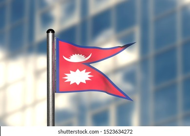 3d render of an flag of Nepal, in front of an blurry background, with a steel flagpole