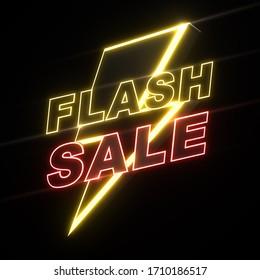 3D Render of flash sale banner, Advertising promotion, 3D illustration.