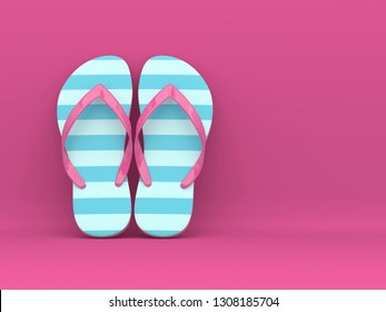 3d render of flip flops over pink background with place for text