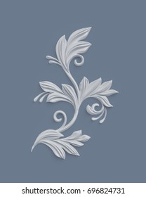3d render, floral design elements, abstract botanical clip art, classical architectural decor, white stucco, relief leaves