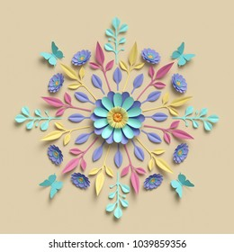 3d render, floral kaleidoscope, pastel paper flowers, symmetrical ornament, botanical background, papercraft