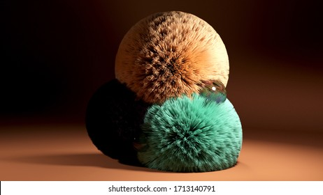 3D render fluffy and colorful balls