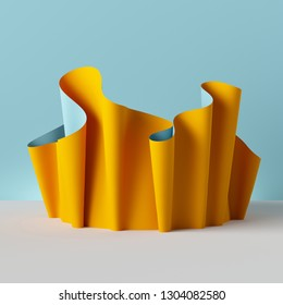 3d render, folded cloth, yellow drapery isolated on blue background, textile, fabric, curtain, abstract fashion wallpaper