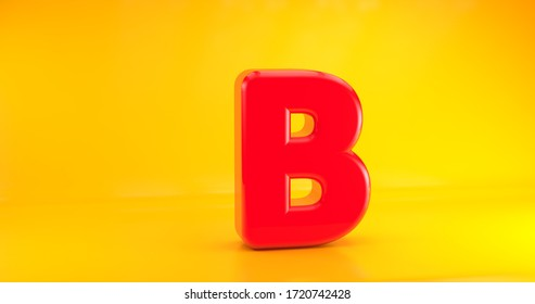 3D Render Font. Red on yellow background. Letter B