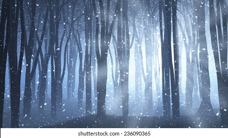 3D render of a forest scene with rays shining through and snow