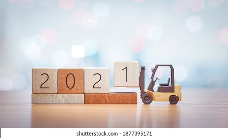 3D Render. forklift lift up year 2021 wooden block on New year andchristmas background.