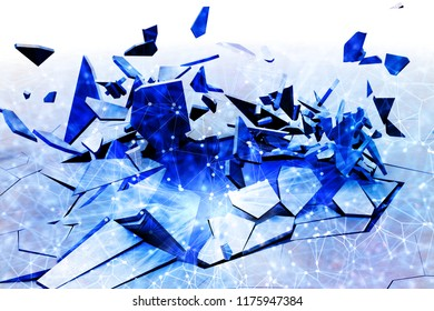 3D render of a fractal cracked background with low poly design