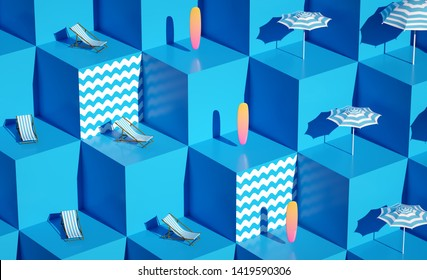 3d render Fresh still life holidays illustration Vacations composition Sweet summer objects closeup Blue pattern background