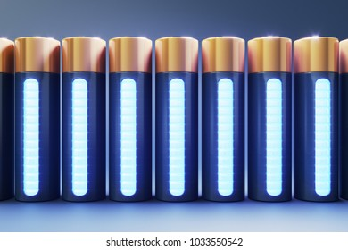 3D render of front view lithium cell batteries. Storage of glossy rechargeable accumulators.