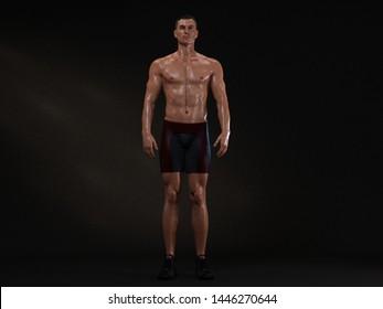 3D Render : A full body portrait of mesomorph man pose standing in the studio