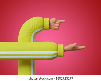 3d render, funny cartoon character hands wearing yellow sleeves, pointing right direction, clip art isolated on red background