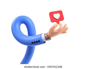 3d render, funny cartoon character flexible hand shows pin, clip art isolated on white background. Best choice metaphor, recommendation concept