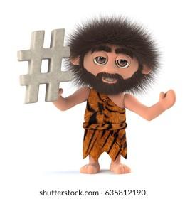 3d render of a funny cartoon crazy caveman character holding a hash tag symbol.