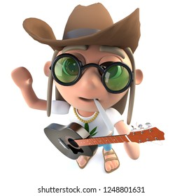3d render of a funny cartoon hippy stoner character wearing a cowboy hat and playing guitar