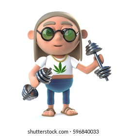 3d render of a funny cartoon hippy stoner character exercising with gym weights