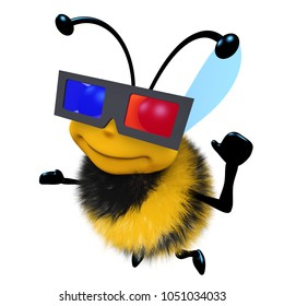 3859dd050b5 3d render of a funny cartoon honey bee character wearing a 3d glasses to  watch a