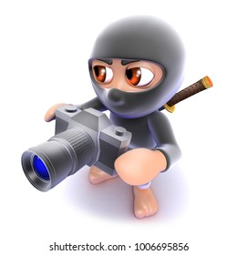 3d render of a funny cartoon ninja assassin taking a photo with a camera