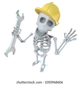 3d render of a funny cartoon skeleton construction worker character holding a spanner