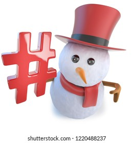 3d render of a funny cartoon snowman in top hat holding a hash tag symbol