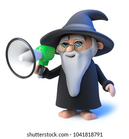 3d render of a funny cartoon wizard magician speaking through a megaphone loudhailer