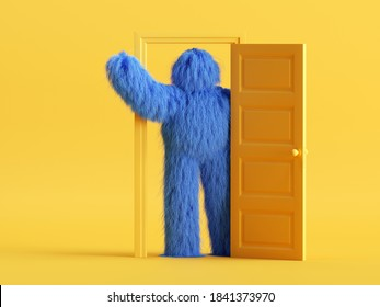 3d render, funny hairy blue monster with hand up, stands inside the doorway, in the yellow room. Modern minimal cartoon character concept