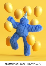 3d render, funny hairy blue monster dancing with air balloons, Yeti cartoon character celebrating birthday party. Festive clip art isolated on yellow background