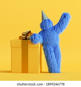 3d render, funny hairy blue monster stands near the big gift box, Yeti cartoon character celebrating birthday party. Festive clip art isolated on yellow background