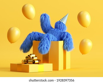 3d render, funny hairy blue monster sits inside the big gift box, flying air balloons, Yeti cartoon character celebrating birthday party. Festive clip art isolated on yellow background