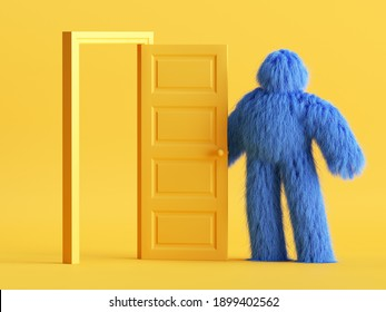 3d render, funny hairy yeti toy, blue monster stands near open door inside the yellow room. Modern minimal interior. Abstract cartoon character concept