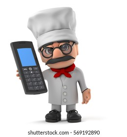 3d render of a funny Italian pizza chef character holding a mobile phone