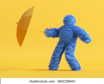 3d render, funny Yeti cartoon character holds umbrella and resists the wind. Stormy weather concept. Funny toy, hairy blue monster clip art isolated on yellow background