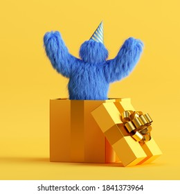 3d render, funny Yeti cartoon character jumps out the big gift box with air balloons, hairy blue monster celebrating birthday party. Festive clip art isolated on yellow background